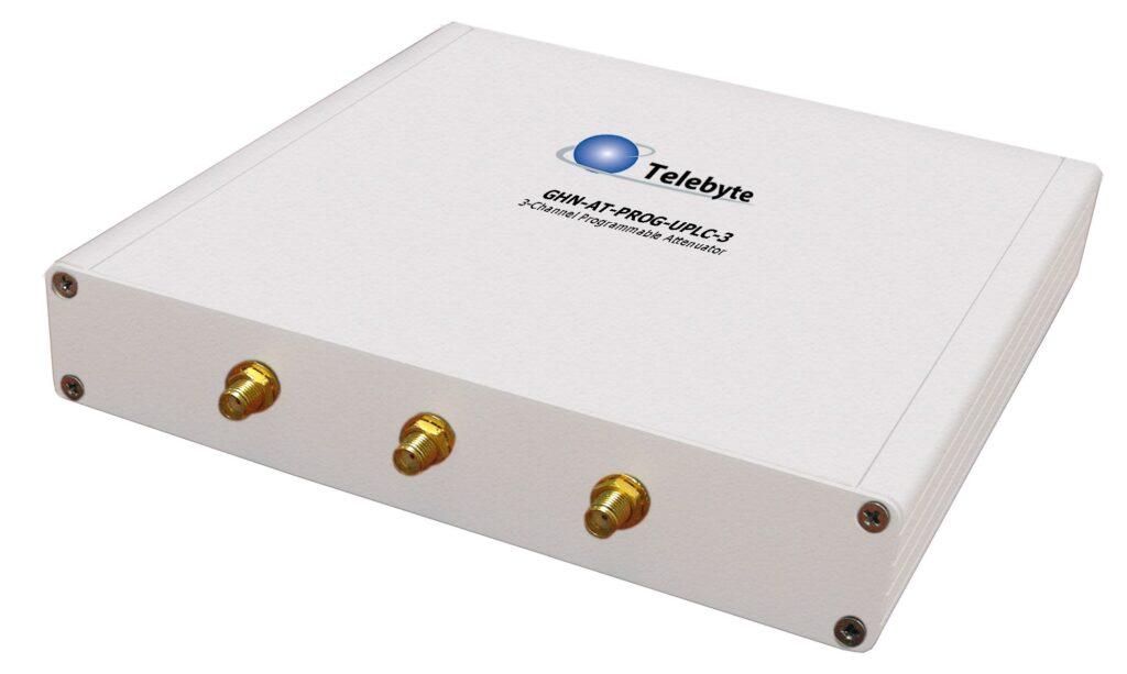 Telebyte Model GHN-AT-PROG-UPLC-3-SLOPE. 3-Channel Programmable Attenuator for testing G.hn Power Line Communication (PLC) devices.